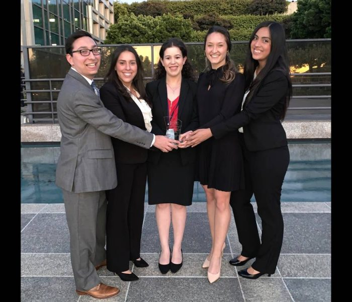 From left: Warrington graduate students Justin Schlakman, Natalia Leal, Suzy Dabage, Olivia Piatkowski and Stephanie Barahona.