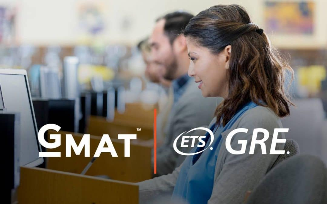 Woman taking a test on a computer with overlay of GMAT and GRE logos