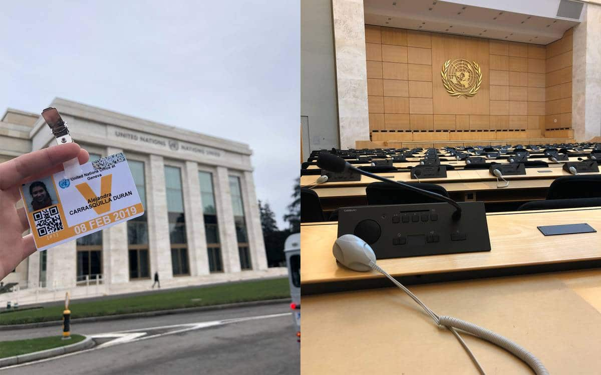 Allie Carrasquilla holds up her UN ID badge in front of the UN building in Geneva, Switzerland along side another image of the inside of the UN Chambers.