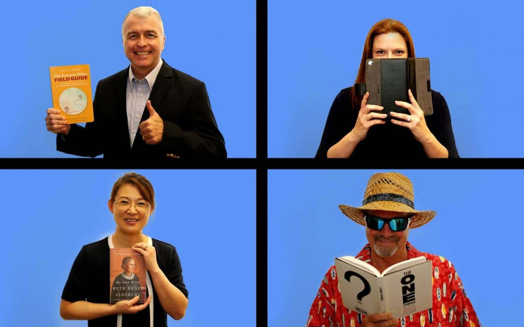 4 Warrington faculty members, two male and two female, hold books. They are positioned in four rectangles on a blue background, similar to the Brady Bunch opening
