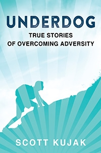 Underdog: True Stories of Overcoming Adversity text with teal image of a person climbing up a mountain