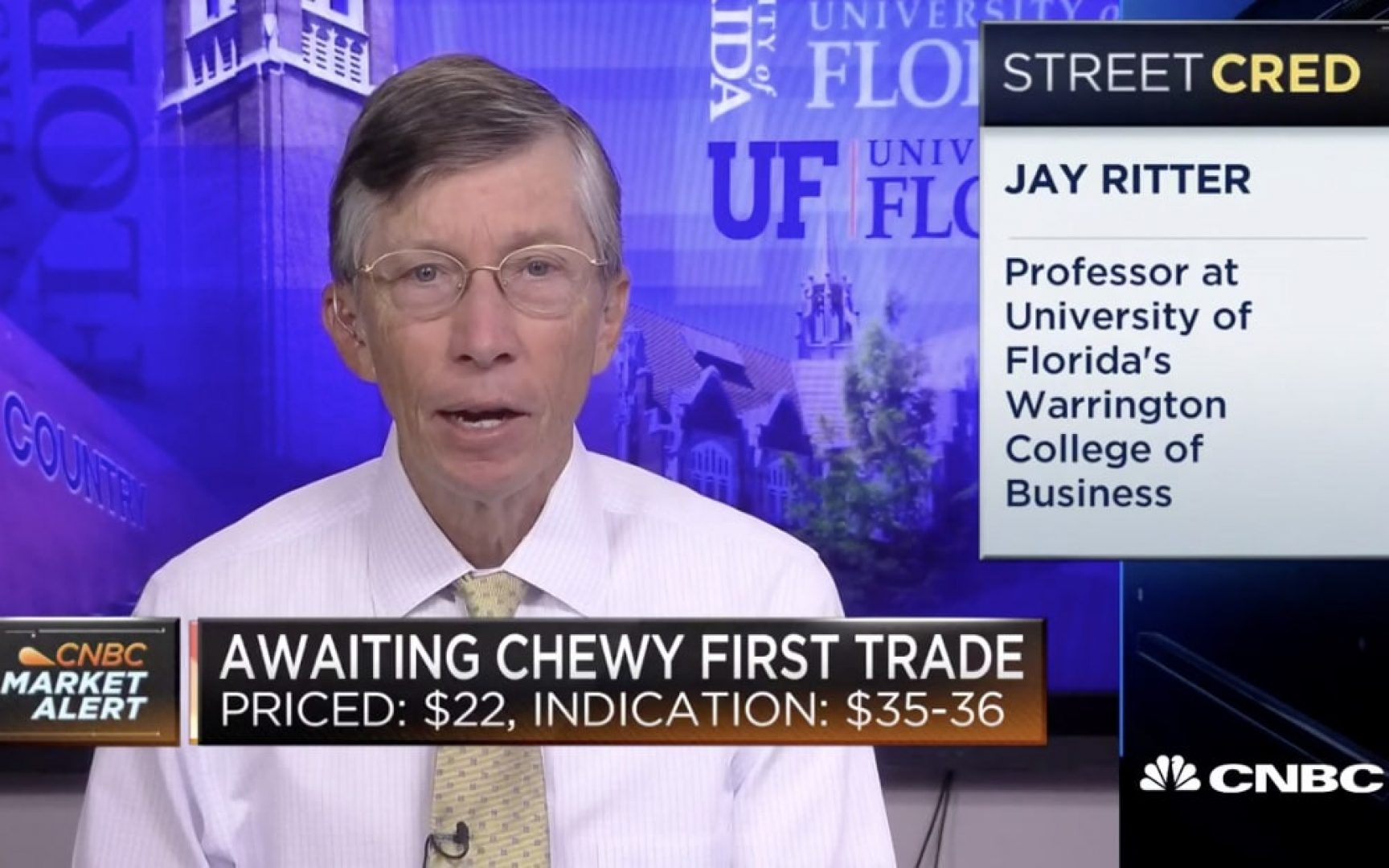 Jay Ritter on CNBC talking about the Chewy.com IPO