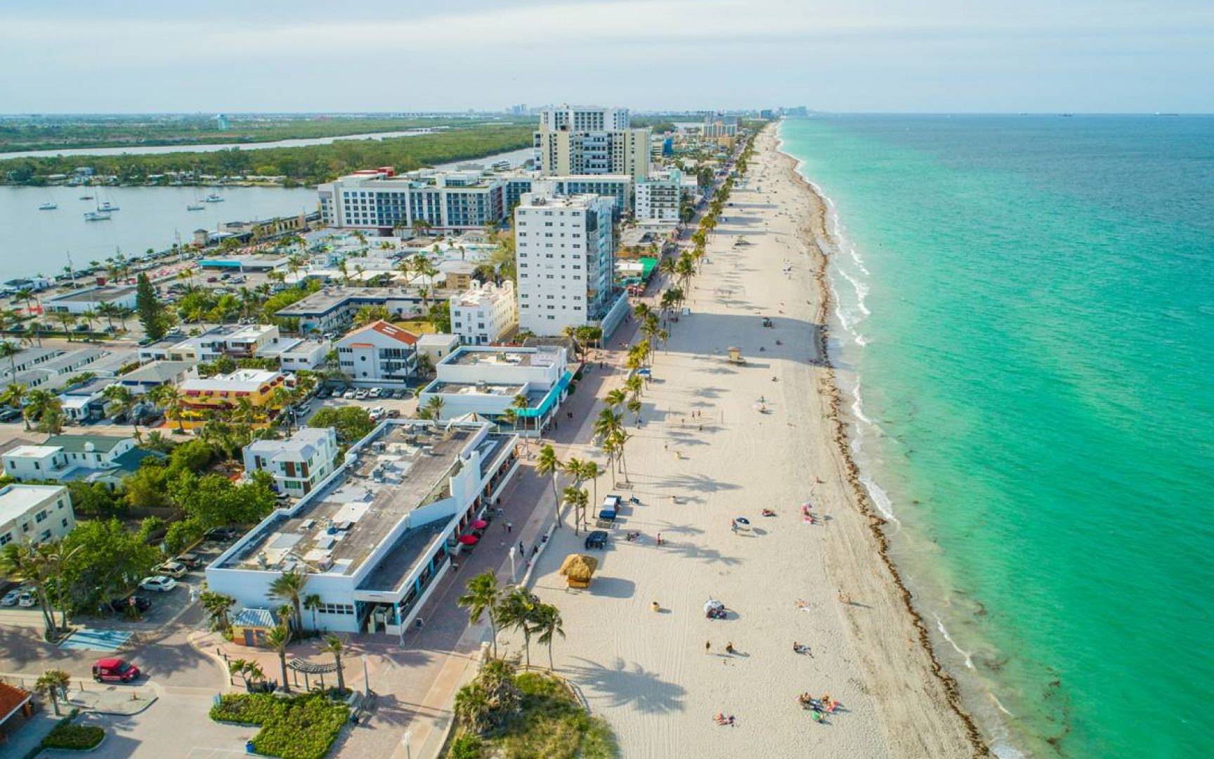 Aerial drone image of hollywood beach and boardwalk
