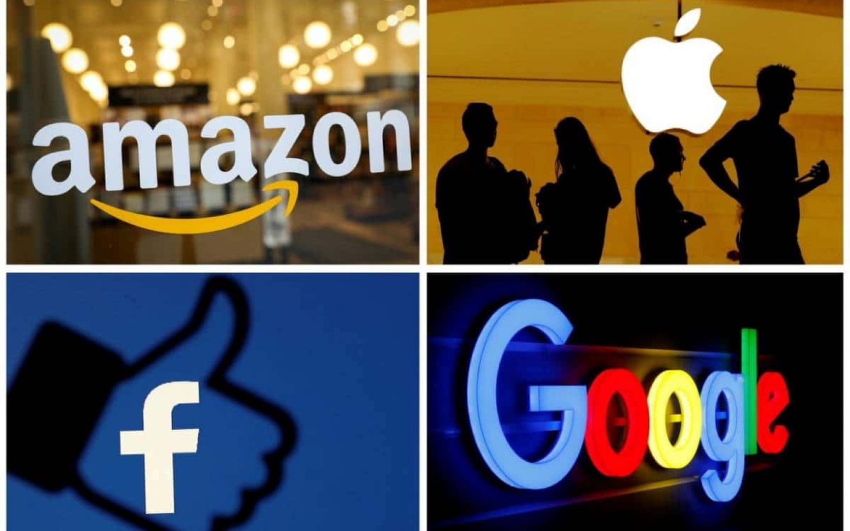 Logos in four quadrants for Amazon, Apple, Facebook and Google