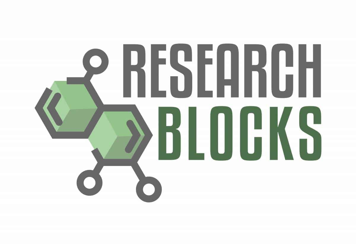 Research Blocks logo with digital rendering of organic compounds