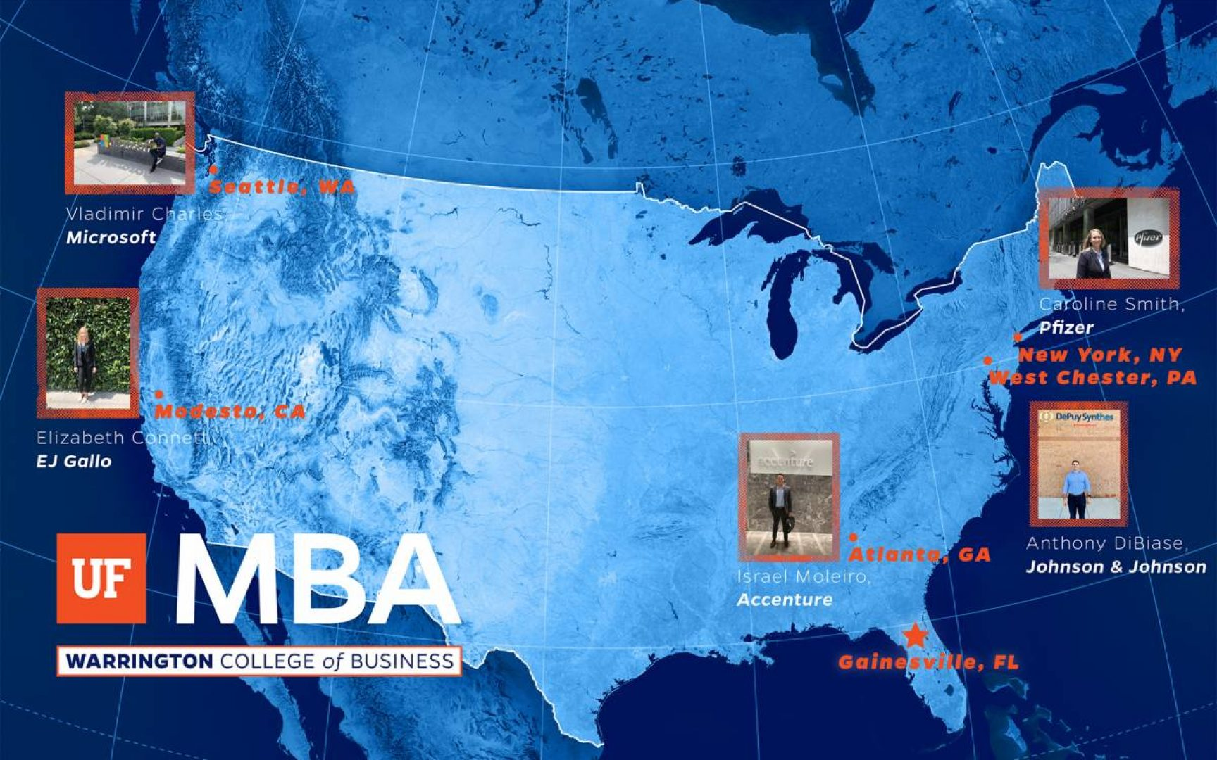 Map of the US with spots marking where UF MBA students are doing internships