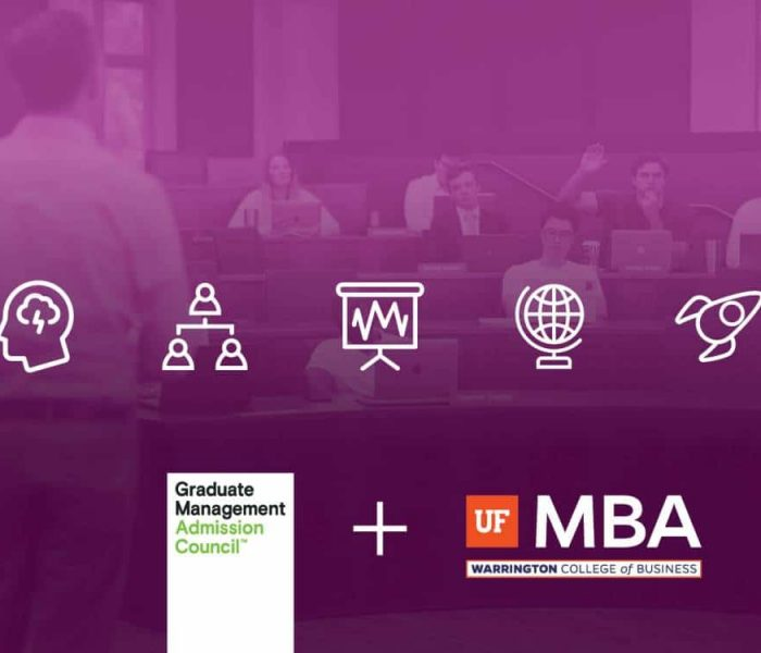 Five icons representing strategy, leadership, data analytics, international business and entrepreneurship over a photo of UF MBA students in a classroom. Below are GMAC and UF MBA logos