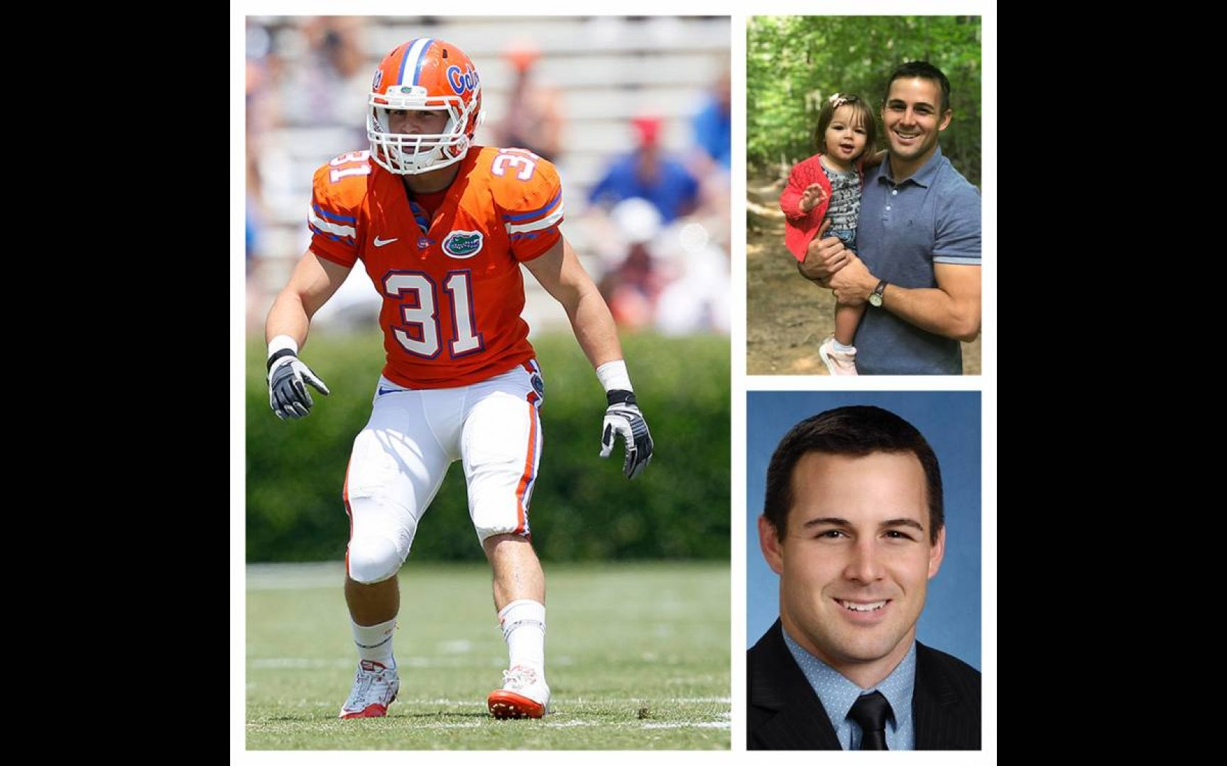 Large photo on the left of Brian Biada in his orange Gator Football uniform on the football field; top-right image of Brian Biada and his daughter'; bottom-right image a portrait of Brian Biada