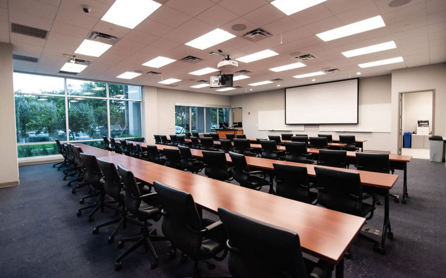Back of one of the two classroom spaces in the UF MBA South Florida Miramar location