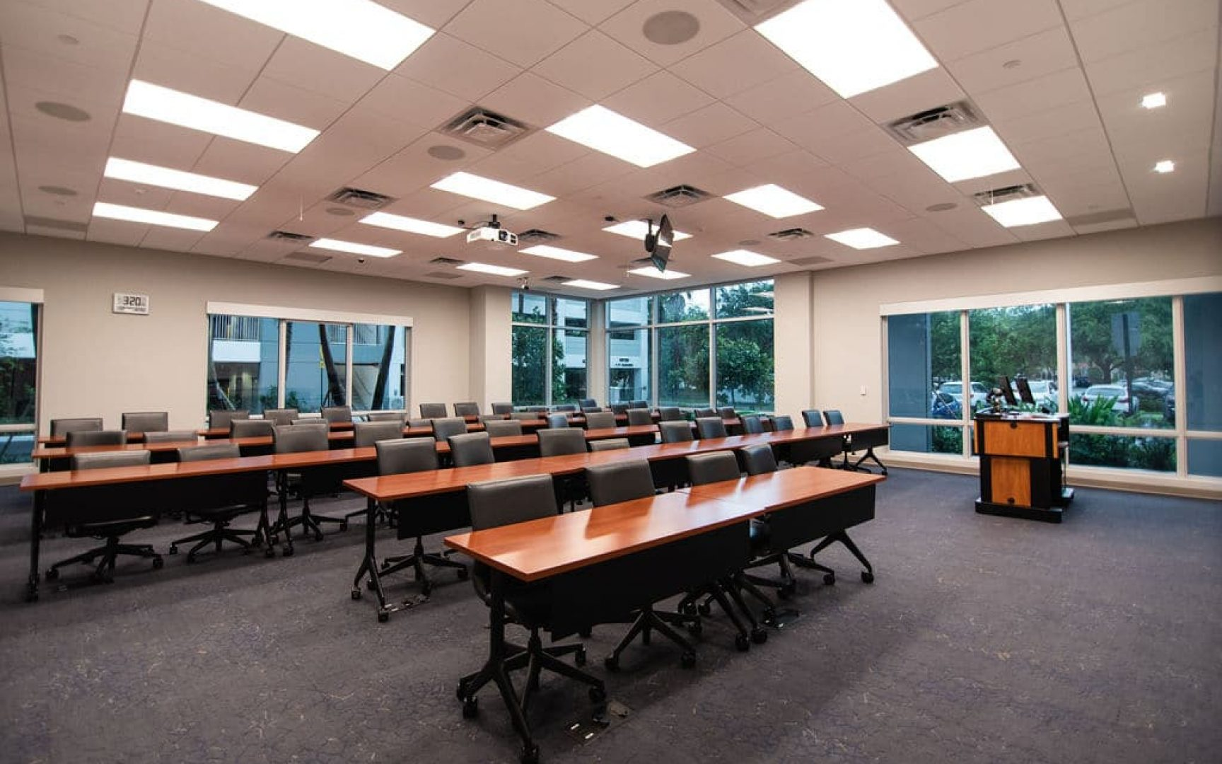 Classroom surrounded by large windows at the UF MBA South Florida Miramar location
