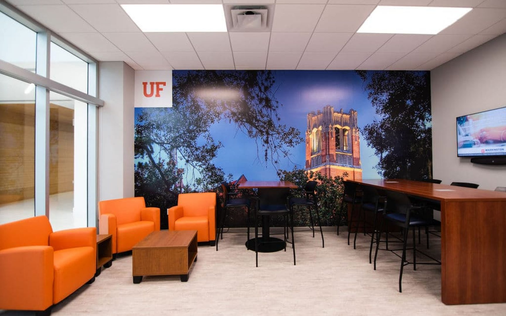 UF MBA South Florida Miramar location lobby with seating and study space for students