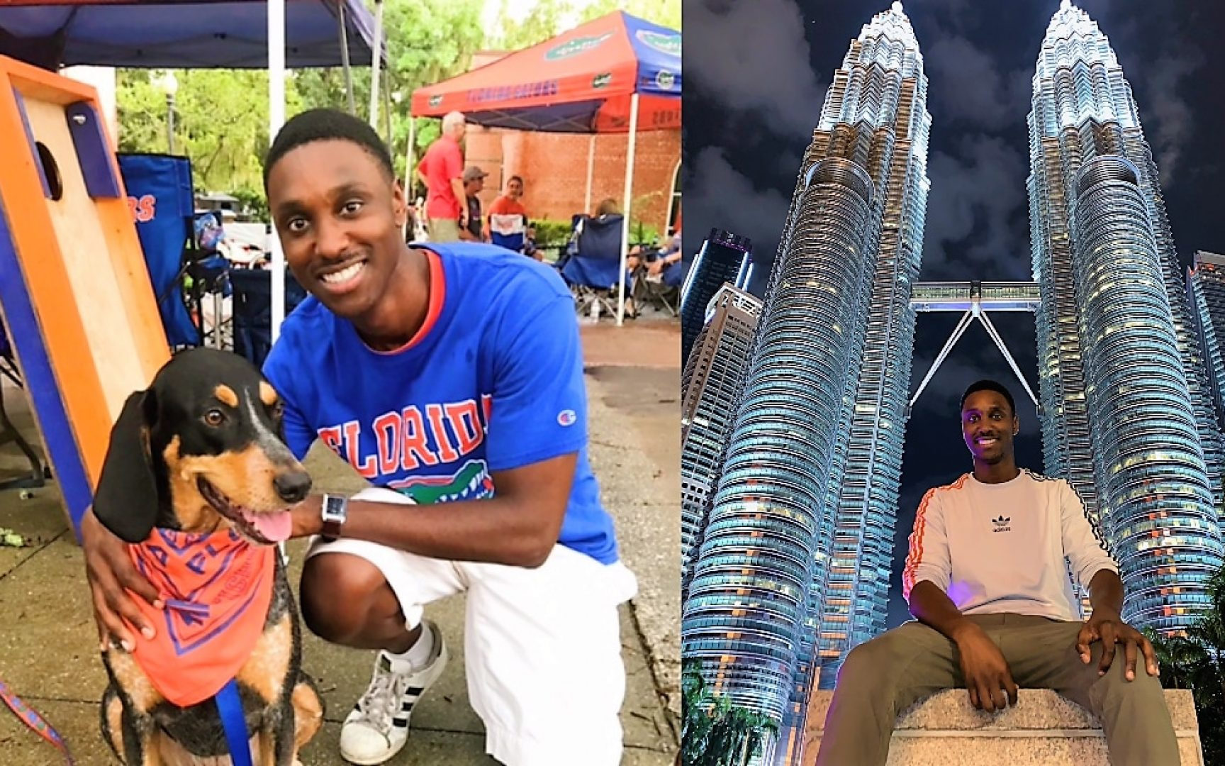 Two photos of Jayson Blankenship. One of him on the UF Campus petting a dog in a Gator shirt, and there other of him sitting below a large building in Malaysia.