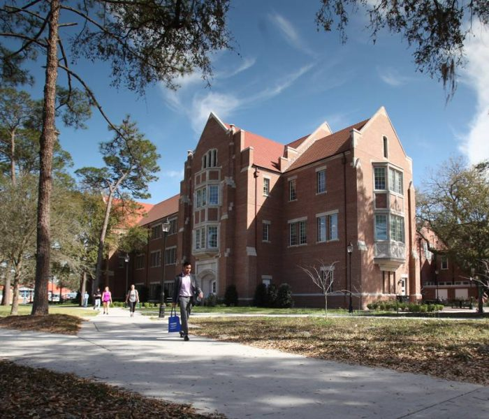Heavener Hall with students walking in front of the building