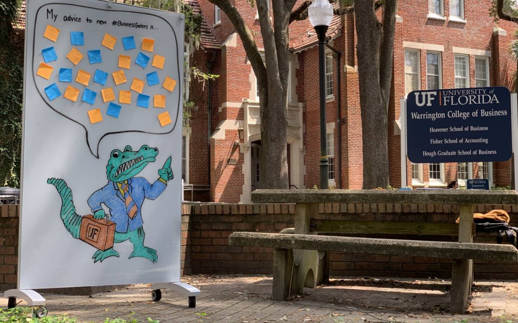 Whiteboard with drawing of a Gator with a speech bubble above his head with advice. The whiteboard is outside in a courtyard next to a bench in front of a sign that says Warrington College of Business