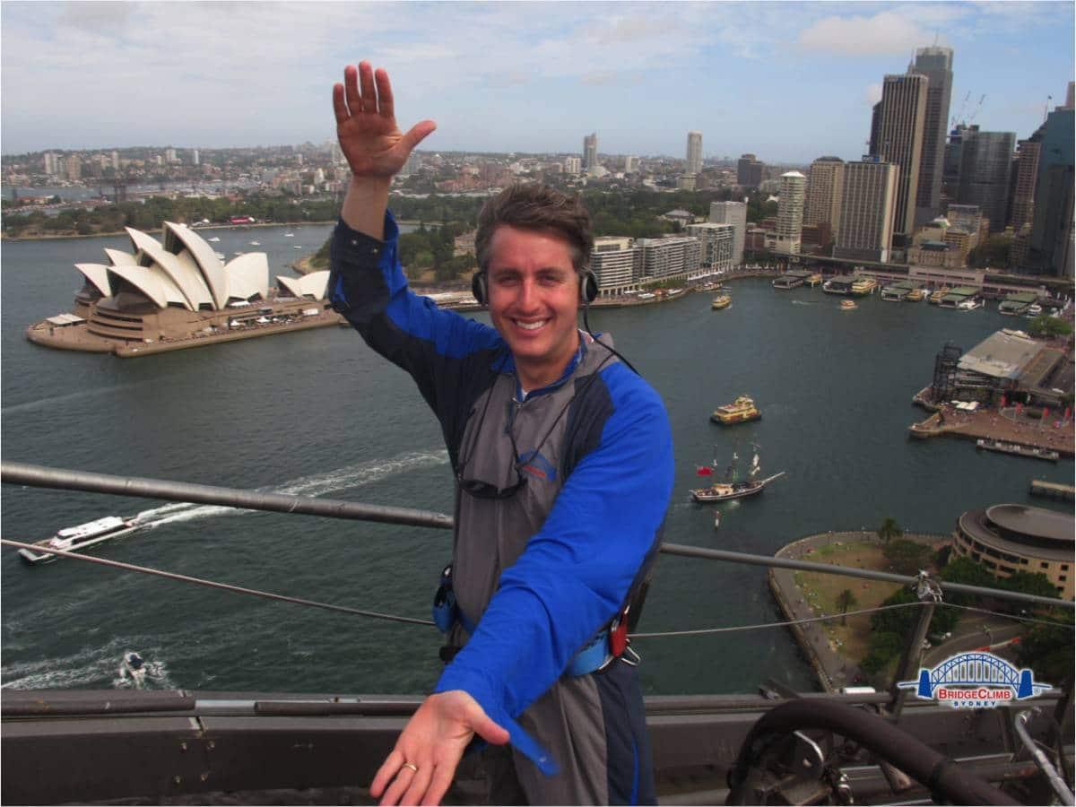 Bruce Brandes doing the Gator Chomp on top of the Sydney Harbor Bridge