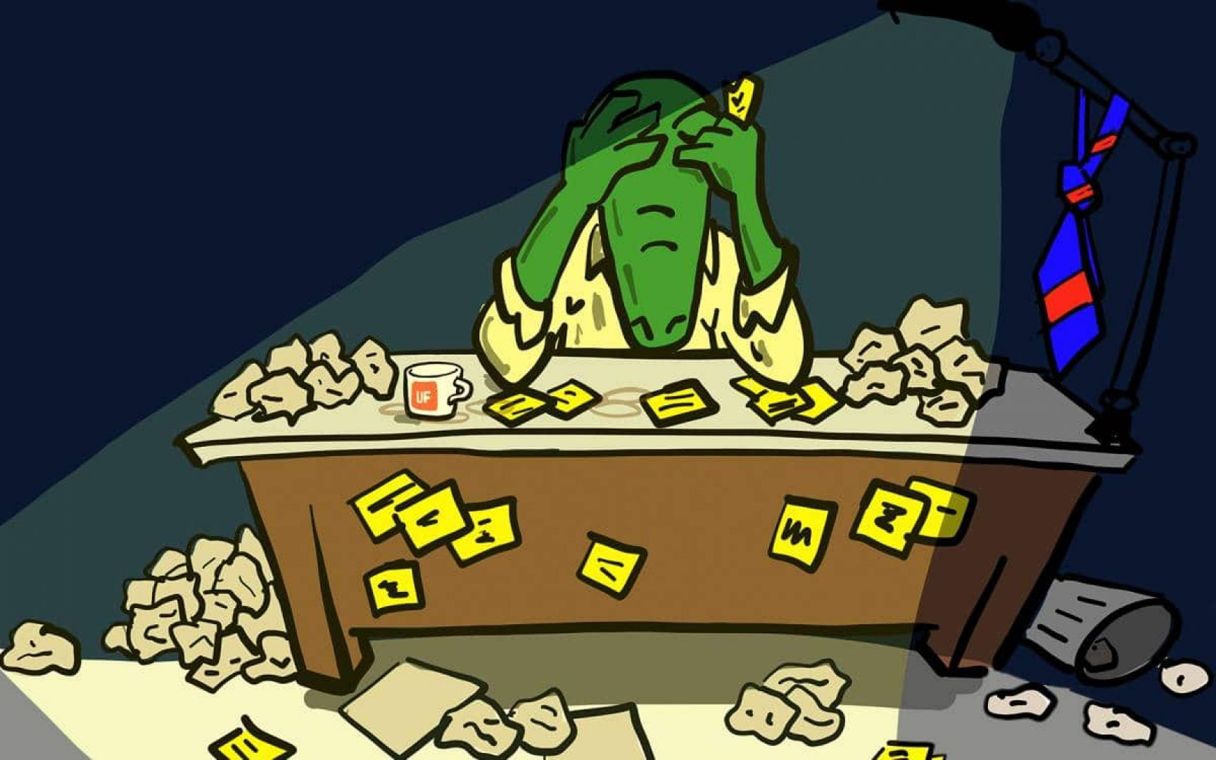 Cartoon gator sitting at a desk with lots of crumpled up papers looking down with his head in his hands