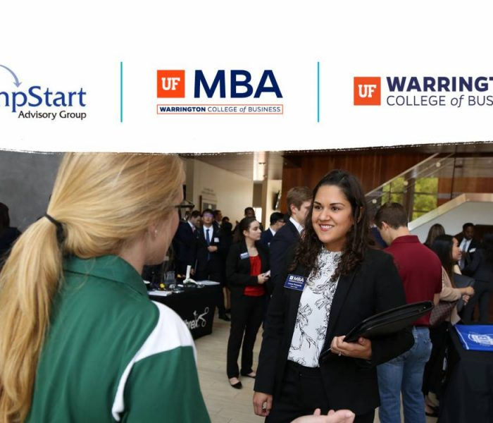 Student talking with recruiter below three logos for JumpStart, UF MBA and the Warrington College of Business