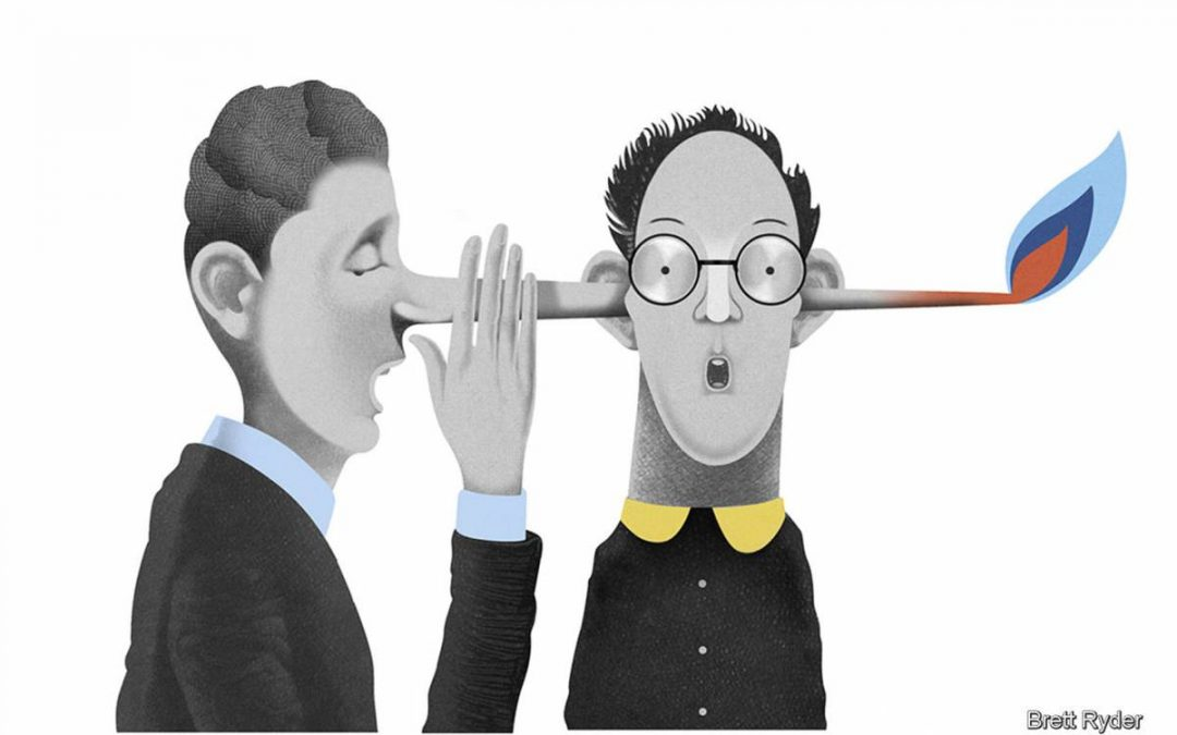 Cartoon man with a long nose that is going through the ears of another cartoon man