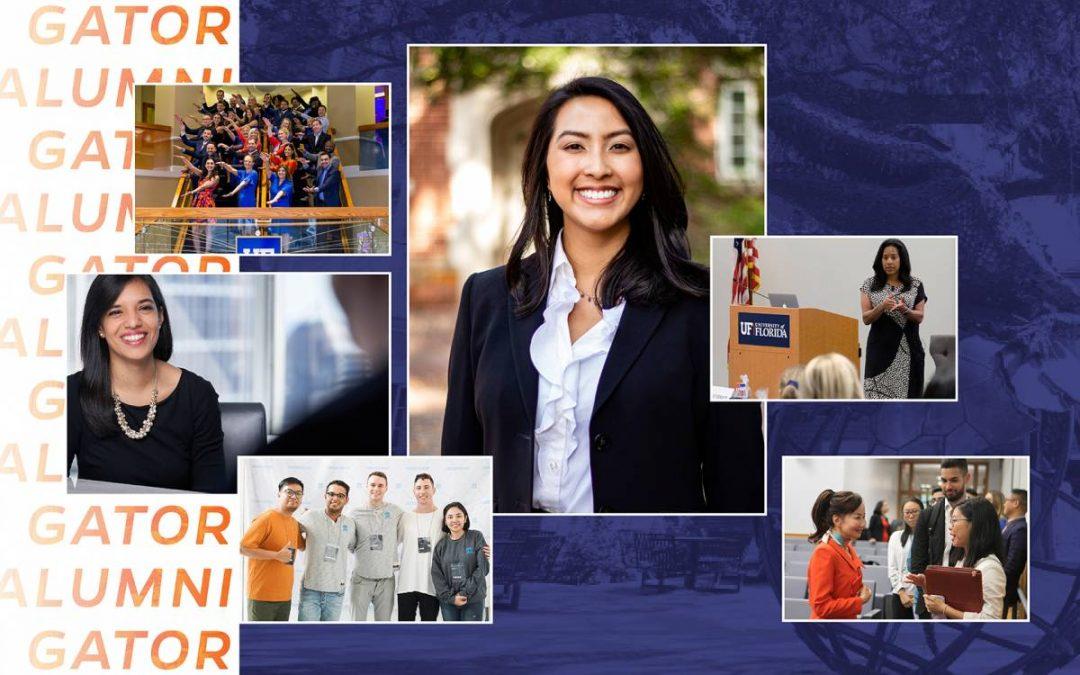 Six photos of Warrington alumni on a blue background with Gator Alumni written in orange