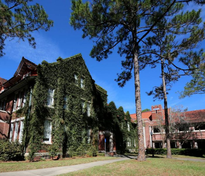 View of Bryan Hall covered in ivy