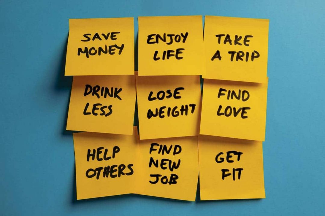 New year's resolutions on yellow reminders