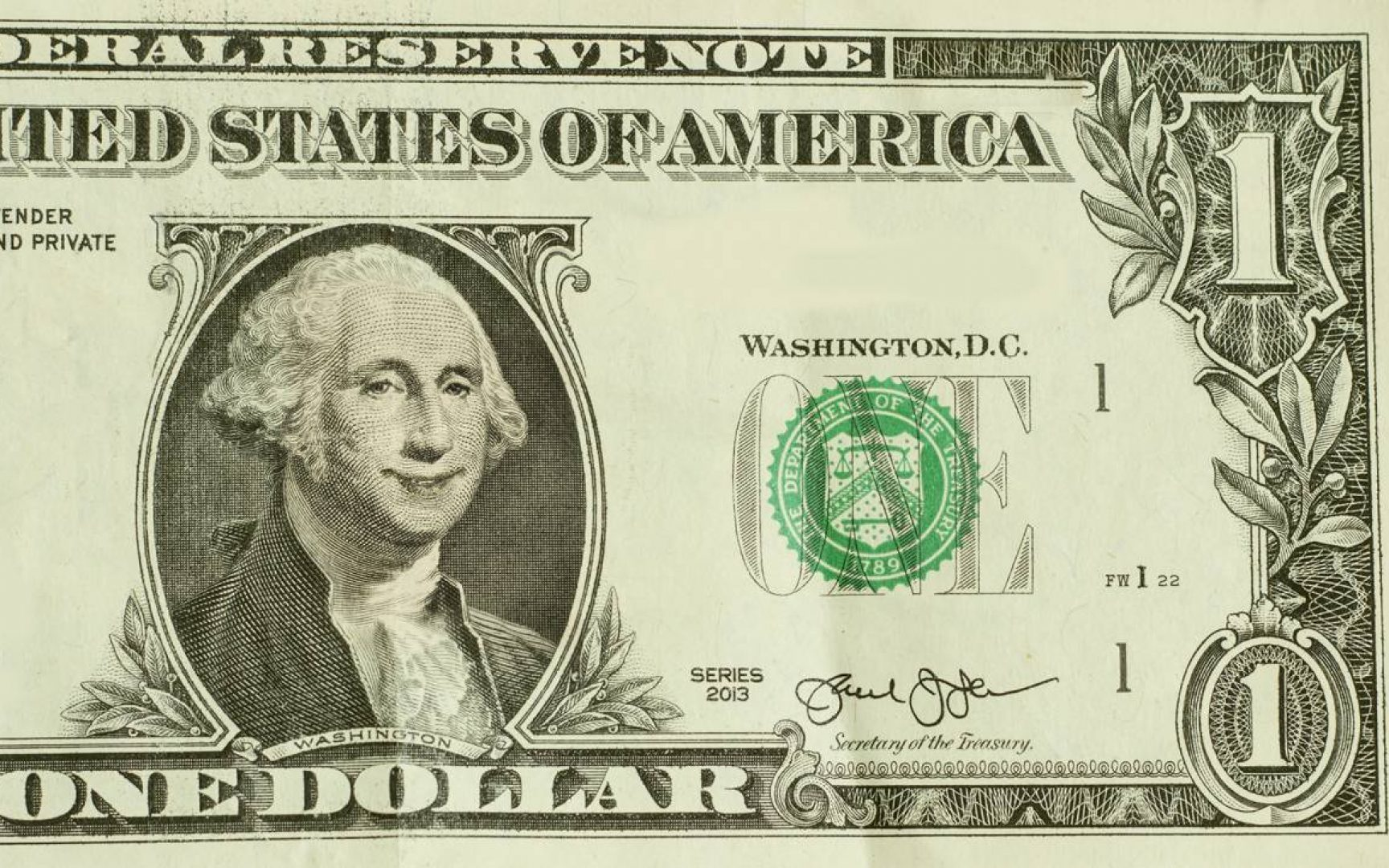 Happy President George Washington smiles on dollar bill