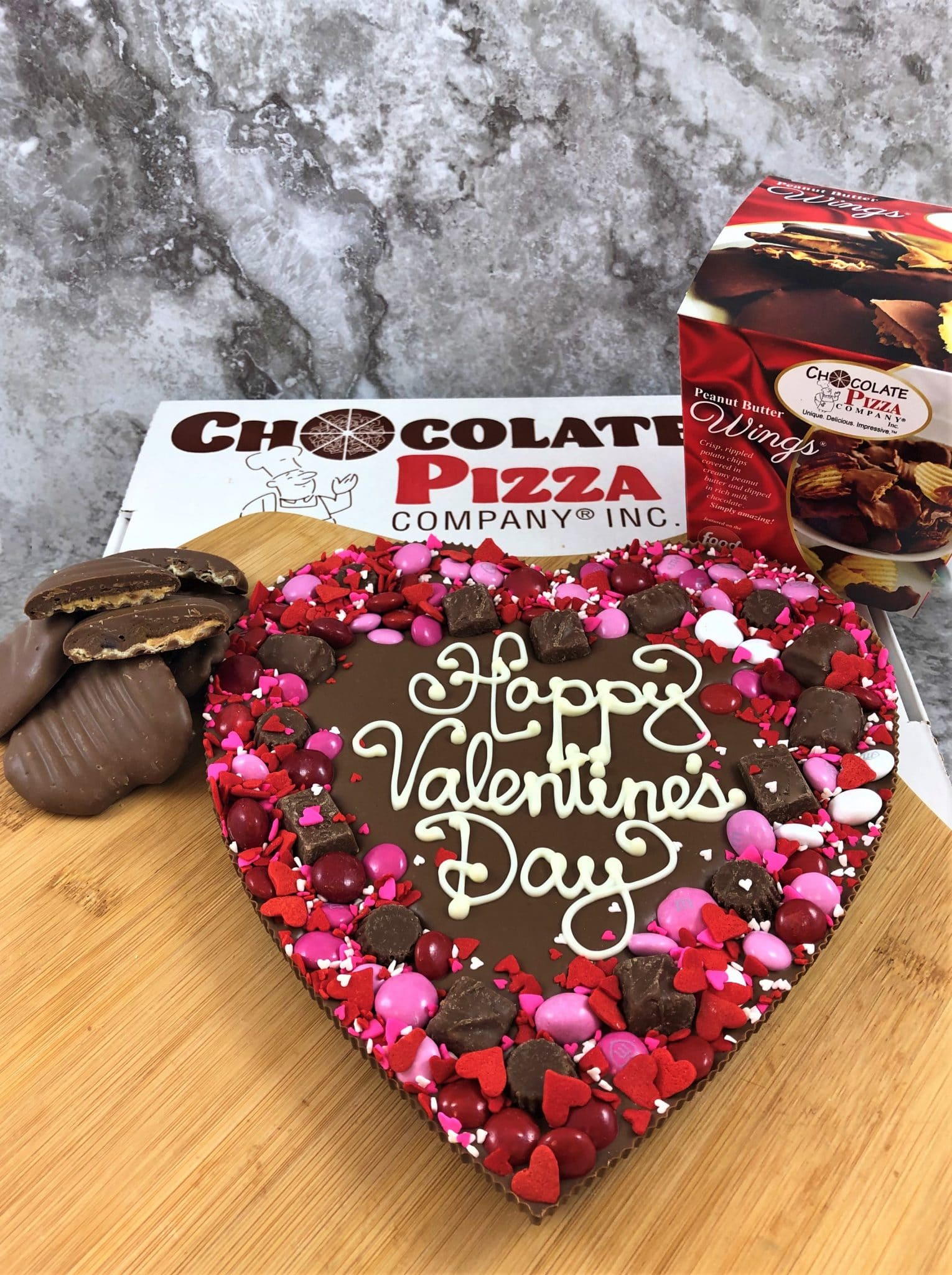 Chocolate pizza and peanut butter wings from the Chocolate Pizza Company