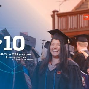 UF MBA students at graduation in their caps and gowns with overlay text that reads Top 10 Full-Time MBA program among publics U.S. News & World Report