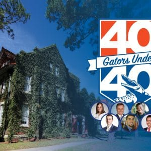Photo of an ivy colored Bryan Hall with a logo that reads 40 Gators Under 40 with seven photos of the winners