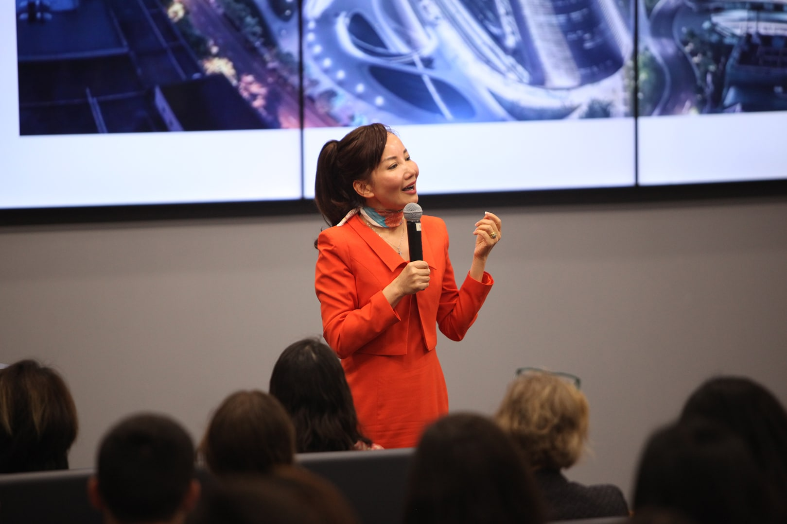 Jane Sun speaks to students at Warrington during a visit to campus.