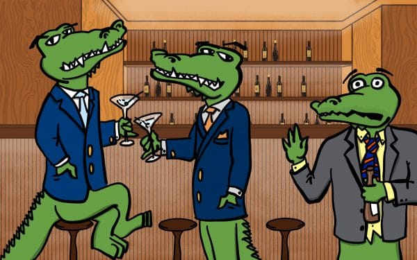 Two cartoon well-dressed gators drinking martinis looking sideways at another disheveled gator holding a beer and waving at the two other gators. Behind them is a bar with various bottles on the shelves.