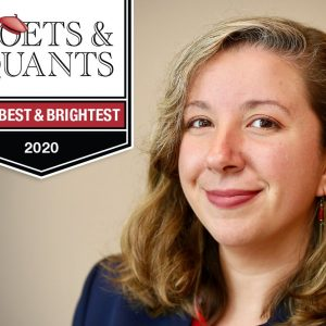 Nicole Howe with the Poets & Quants logo on a banner that reads MBA Best and Brightest 2020