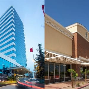 Side by side images of a hospital and an outdoor shopping center