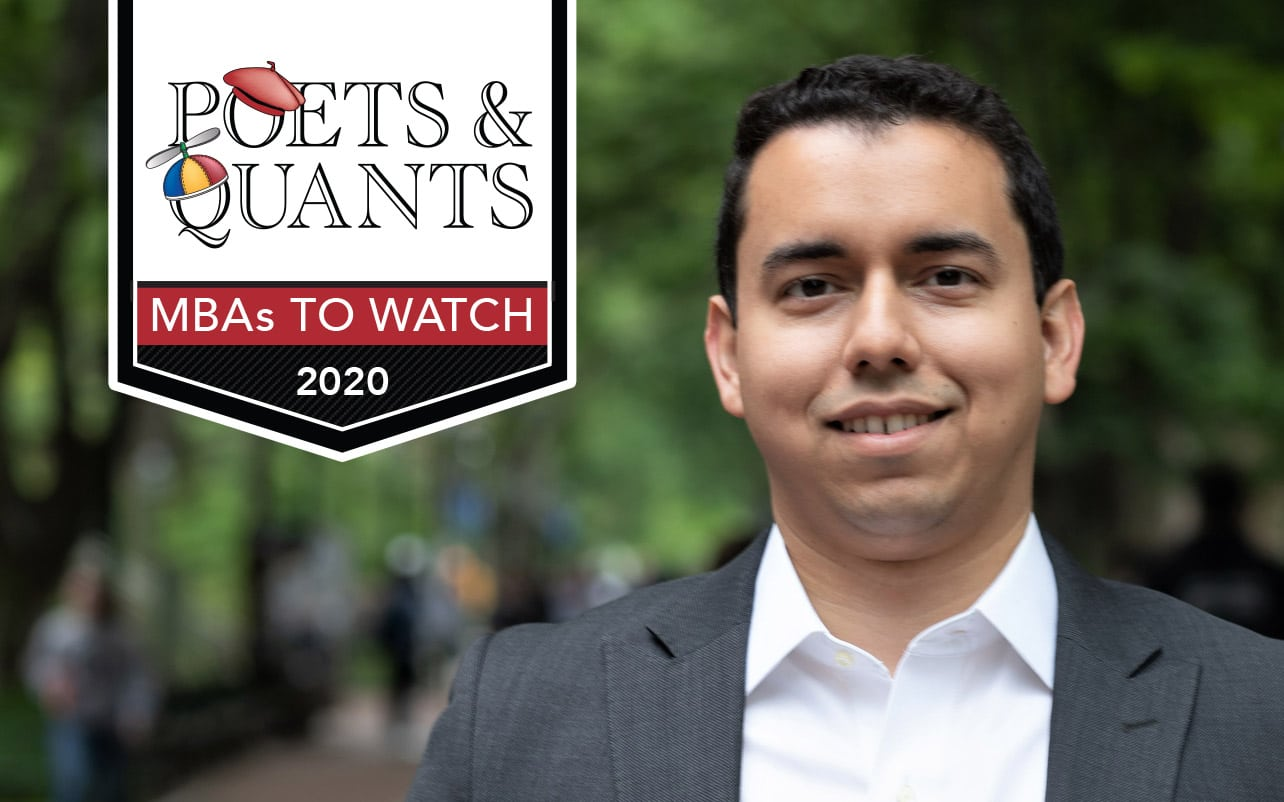 Orlando Gutiérrez with a graphic in the upper left corner that reads Poets & Quants MBAs to Watch 2020
