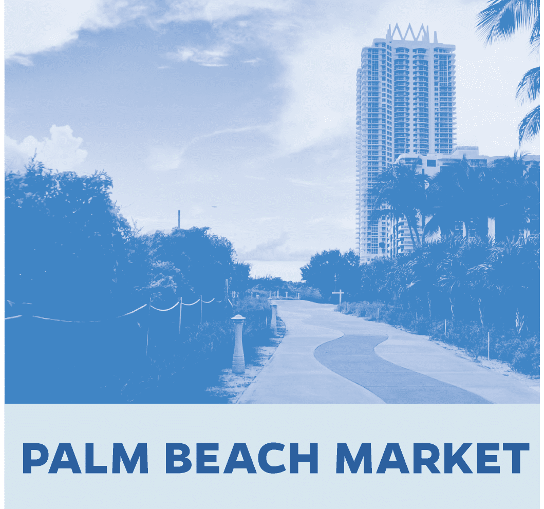 Palm Beach Market with photo showing a tall building and palm-lined walkway