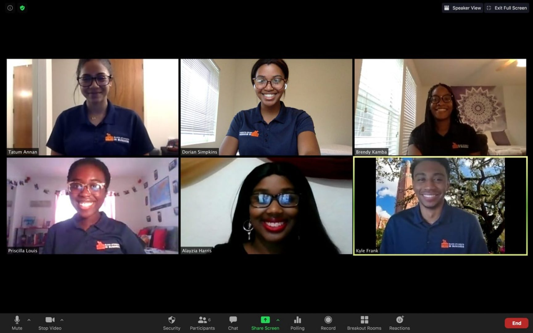 Six Black students in a Zoom meeting.