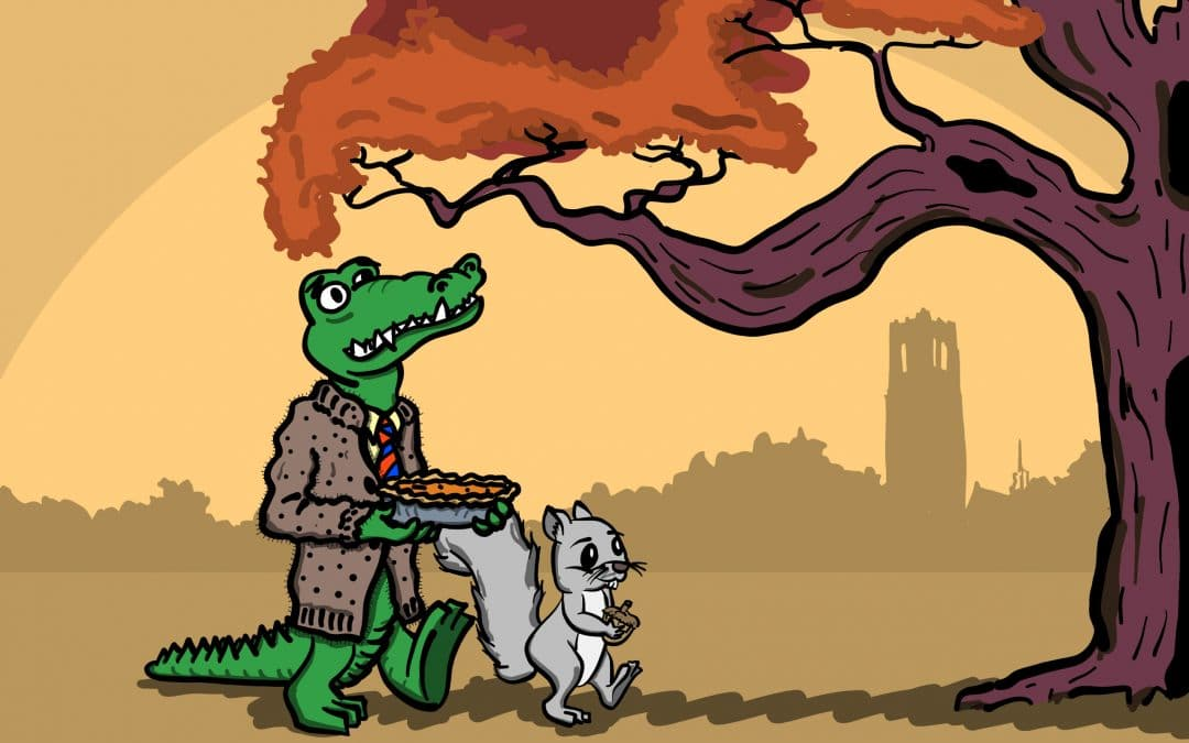 Albert Gator carrying a pie while walking with a squirrel past a tree with Century Tower in the background.