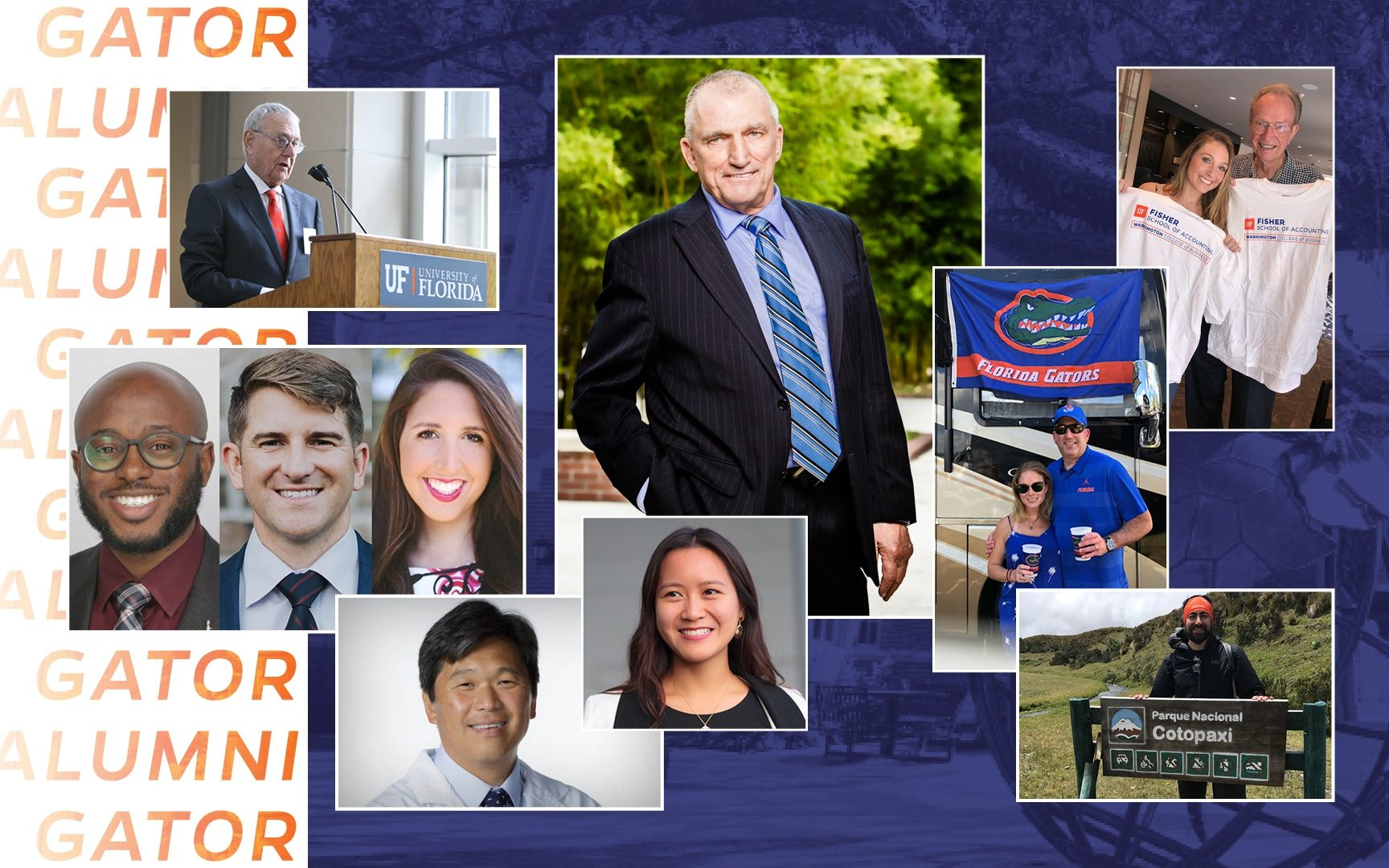 Collage image of Warrington alumni including Bill Hough, Al Warrington, Fred Fisher, Quinn Fisher Simpson, Vlad Charles, Chris DiBiase, Alyssa Forbess, Brian How, Victoria Liu, Nick Schumann and Adrienne and Randy Figur. All on a backdrop with orange text that reads Gator Alumni.