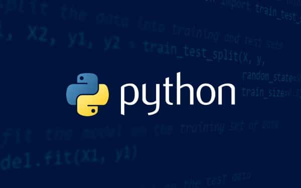 Code with a blue overlay and the Python logo centered on top