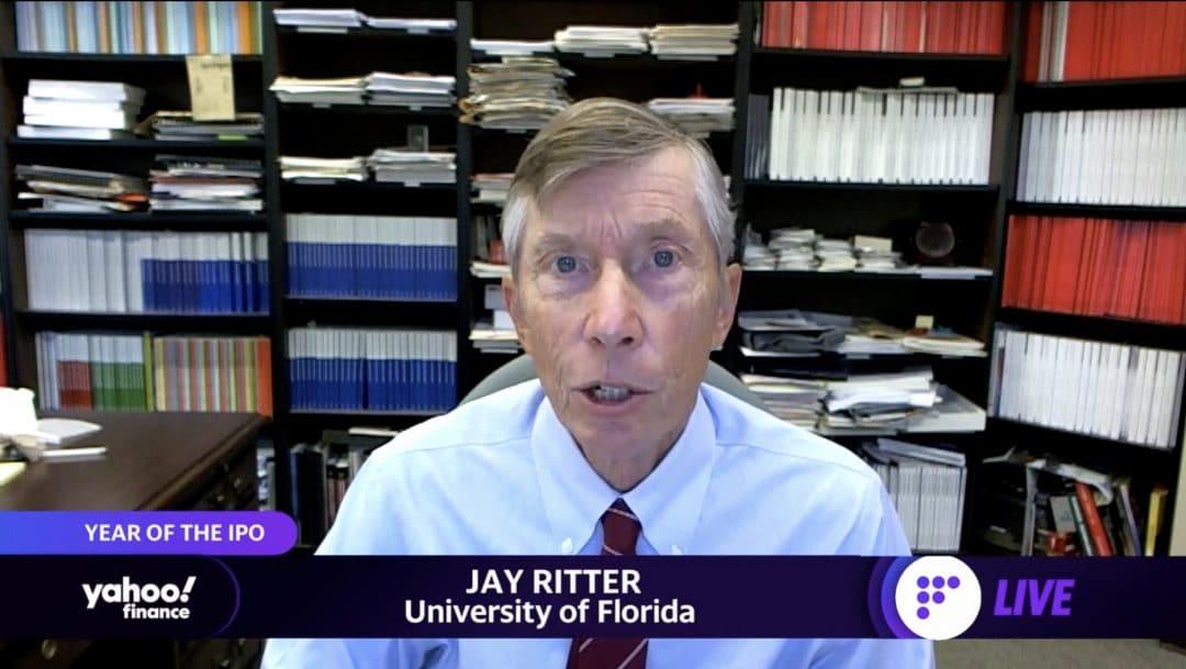 Jay Ritter speaks via Zoom on Yahoo! Finance.