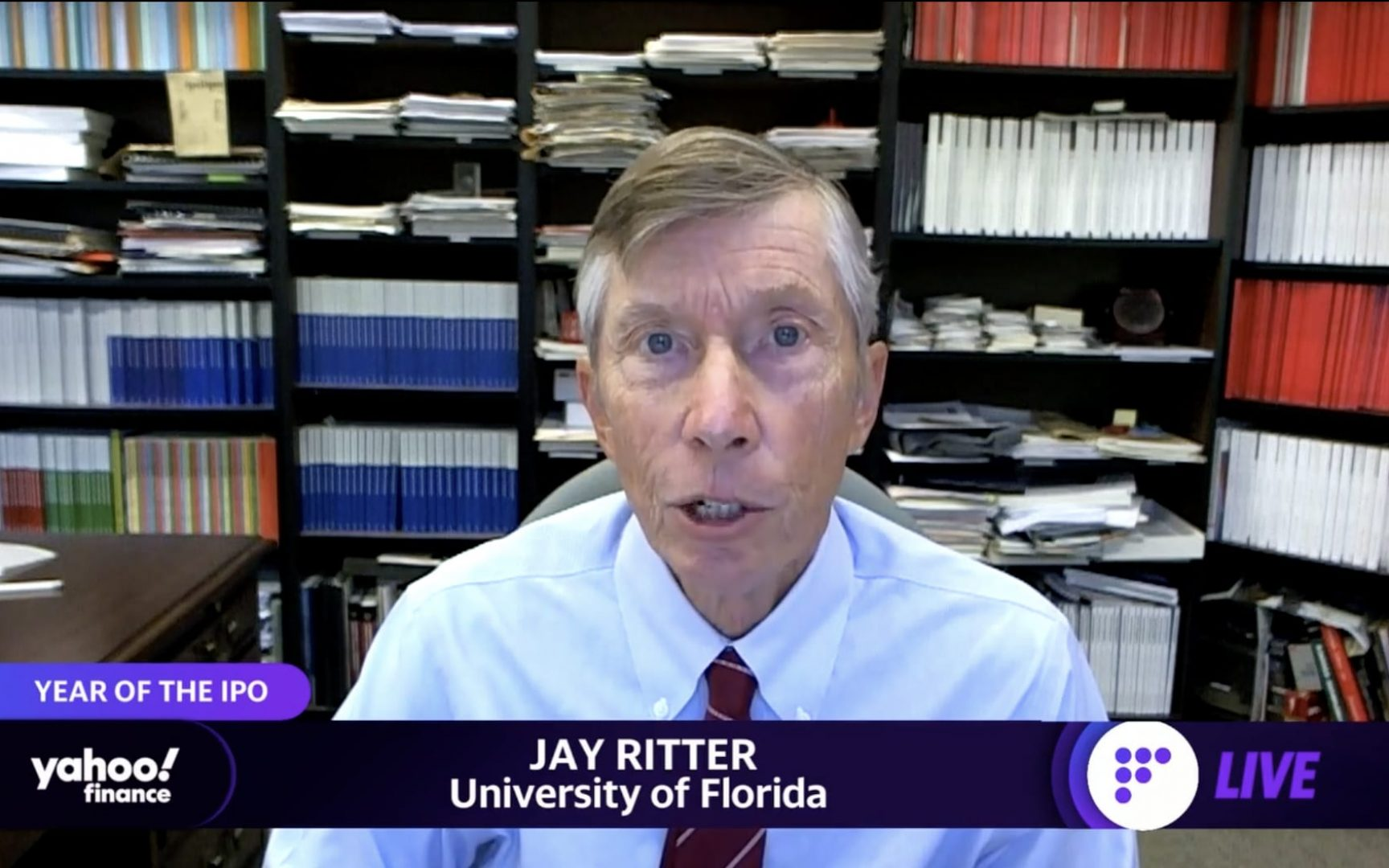 Jay Ritter speaks via Zoom on Yahoo! Finance.