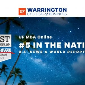 UF MBA Online #5 in the nation US News & World Report over twilight image of sky with palm trees.