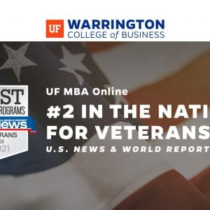 UF MBA Online #2 in the nation for veterans US News and World Report over image of sky with a US flag