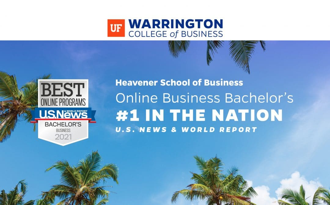 Heavener School of Business Online Business Bachelor's #1 in the nation US News and World Report over image looking up at a blue sky with the top of some palm trees.