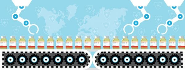 Production and distribution of a COVID-19 vaccine. Design by yellow vaccine bottles sliding on factory belt for manufacturing with robotic hands. Coronavirus Science laboratory metaphor Poster or social banner