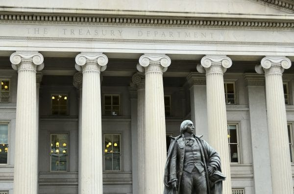 The US Treasury Building in downtown Washington DC.