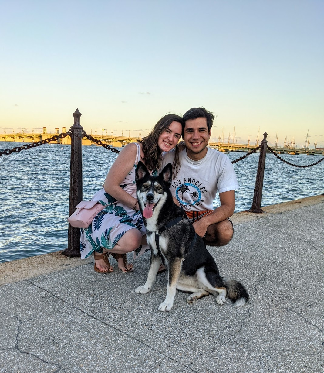 Summer Londono with her husband and husky.