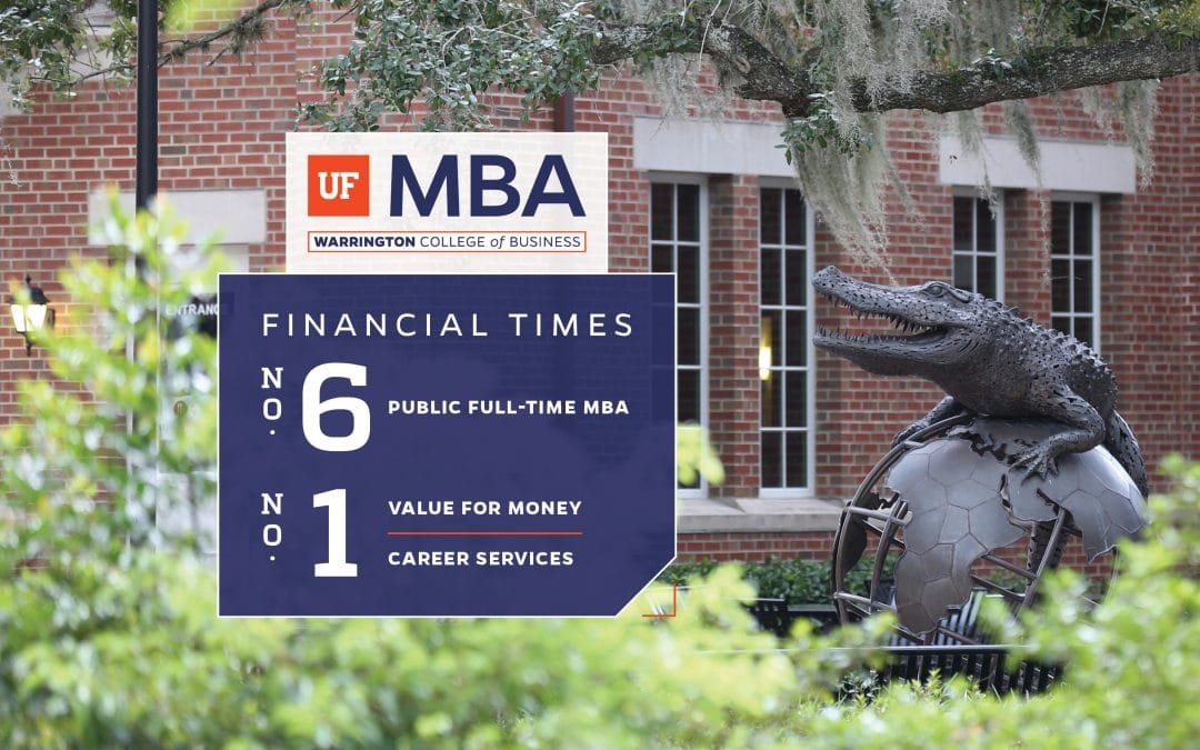Gator Ubiquity Statue photographed on the right of a text box with the UF MBA logo and the text Financial Times No. 6 Public Full-Time MBA and No. 1 Value for Money and Career Services