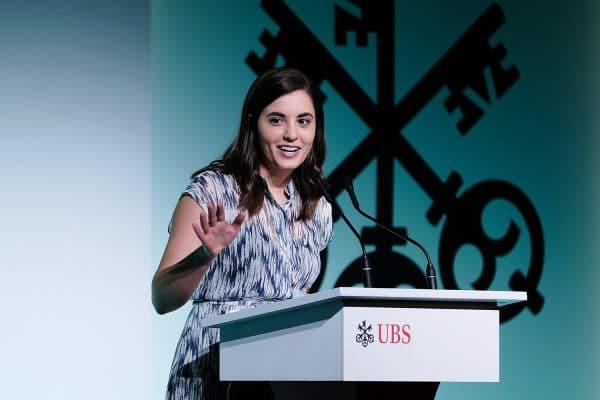 UF Warrington alumnae Lizzi Salem speaks at a UBS event