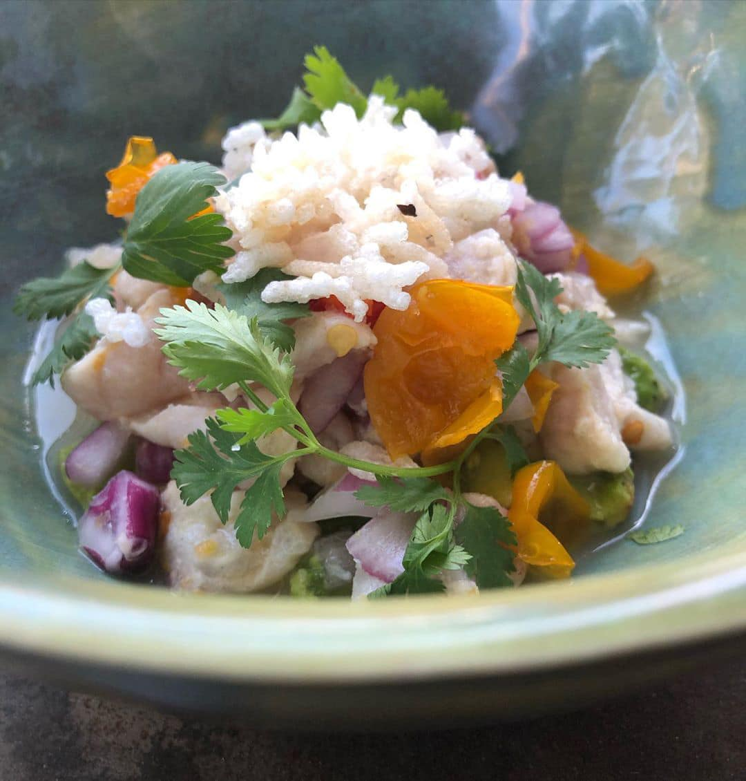 Rockfish ceviche piled high topped with rice.